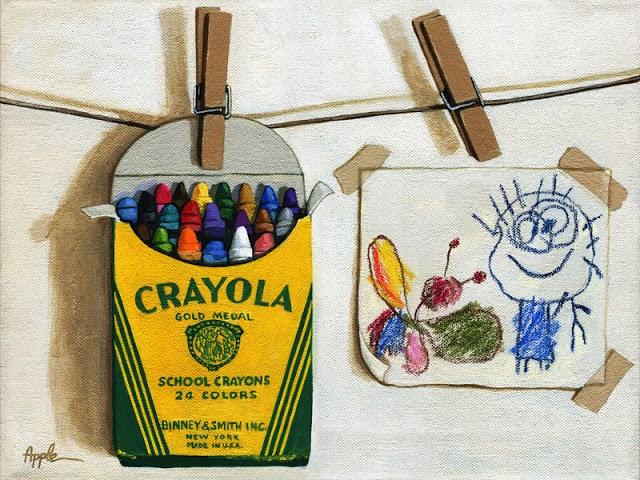 """Box of Crayons and Children's Drawing original realistic still life"" original fine art by Linda Apple"