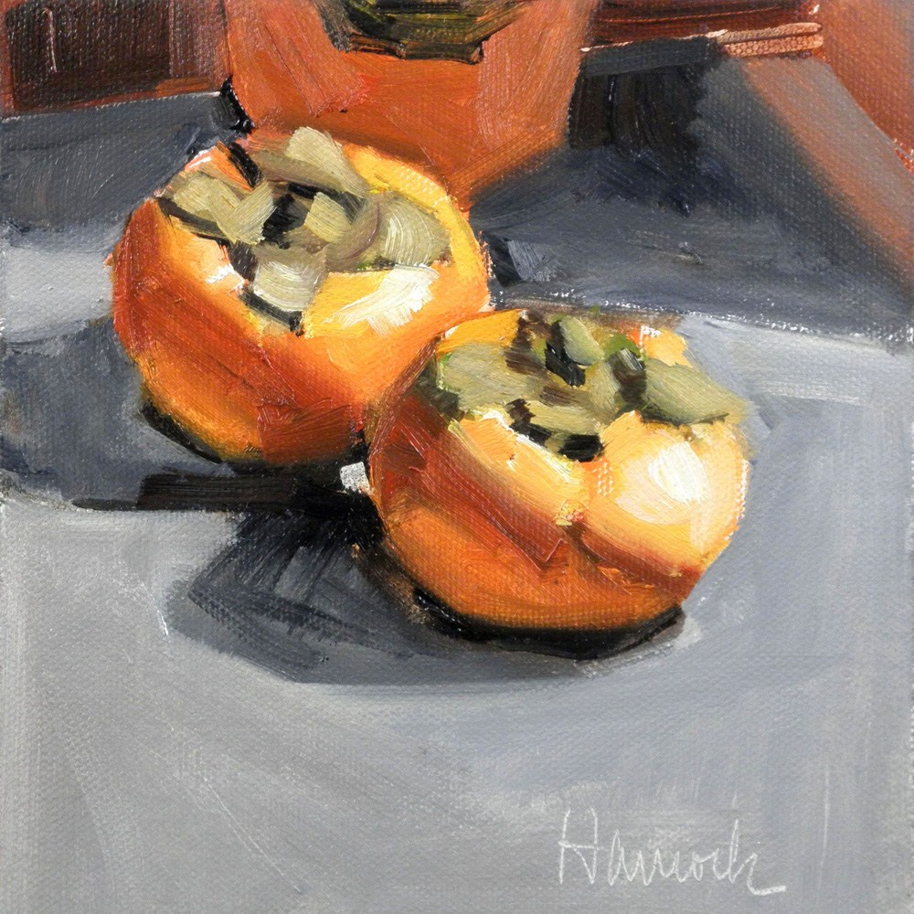 """Three Persimmons on Gray"" original fine art by Gretchen Hancock"