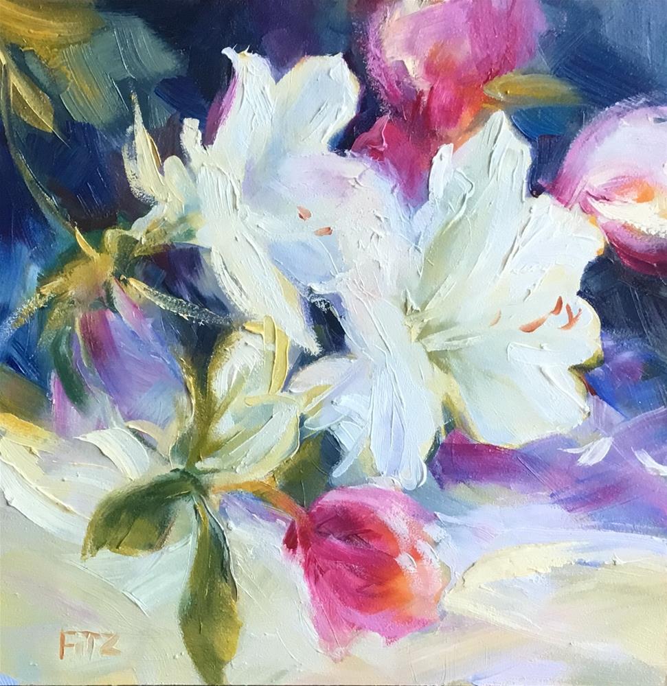 """White Azaleas"" original fine art by Charlotte Fitzgerald"