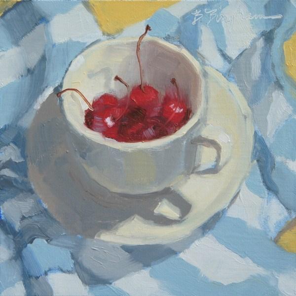 """""""Striped Cherry Cup"""" original fine art by Bruce Bingham"""