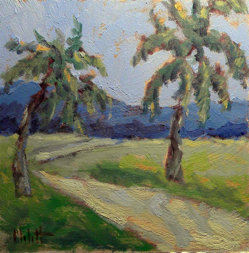 """Island Hike Palm Trees Daily Painting Landscape"" original fine art by Heidi Malott"