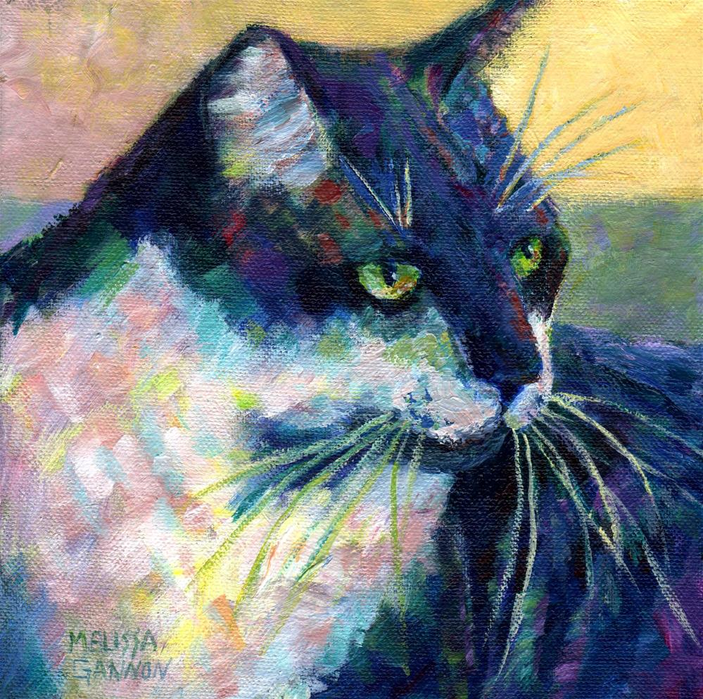 """Tuxedo Kitty Concentration"" original fine art by Melissa Gannon"