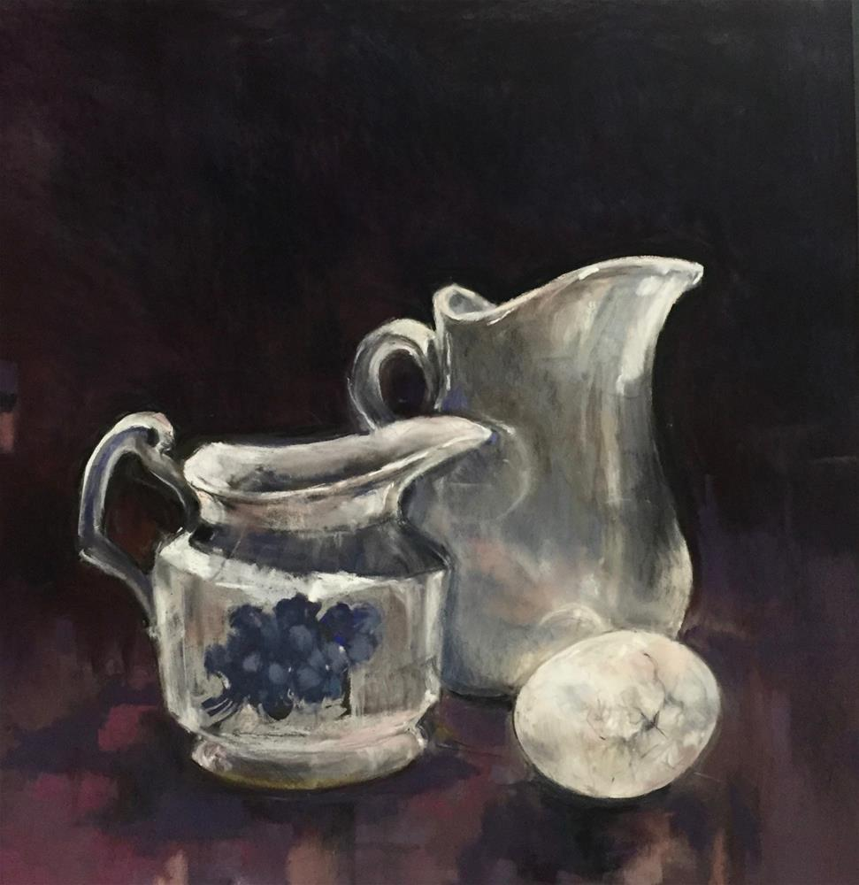 """Cracked Egg and Creamers"" original fine art by jeri greenberg"