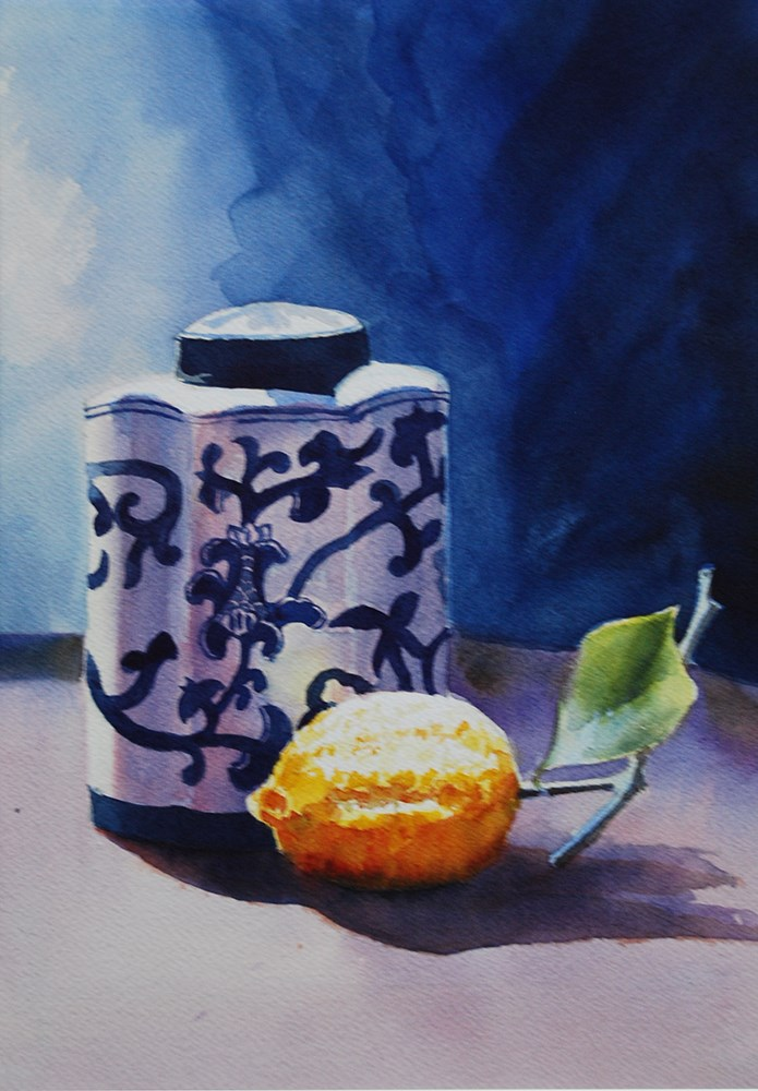 """Italian Jar with Lemon"" original fine art by Mary Anderson"
