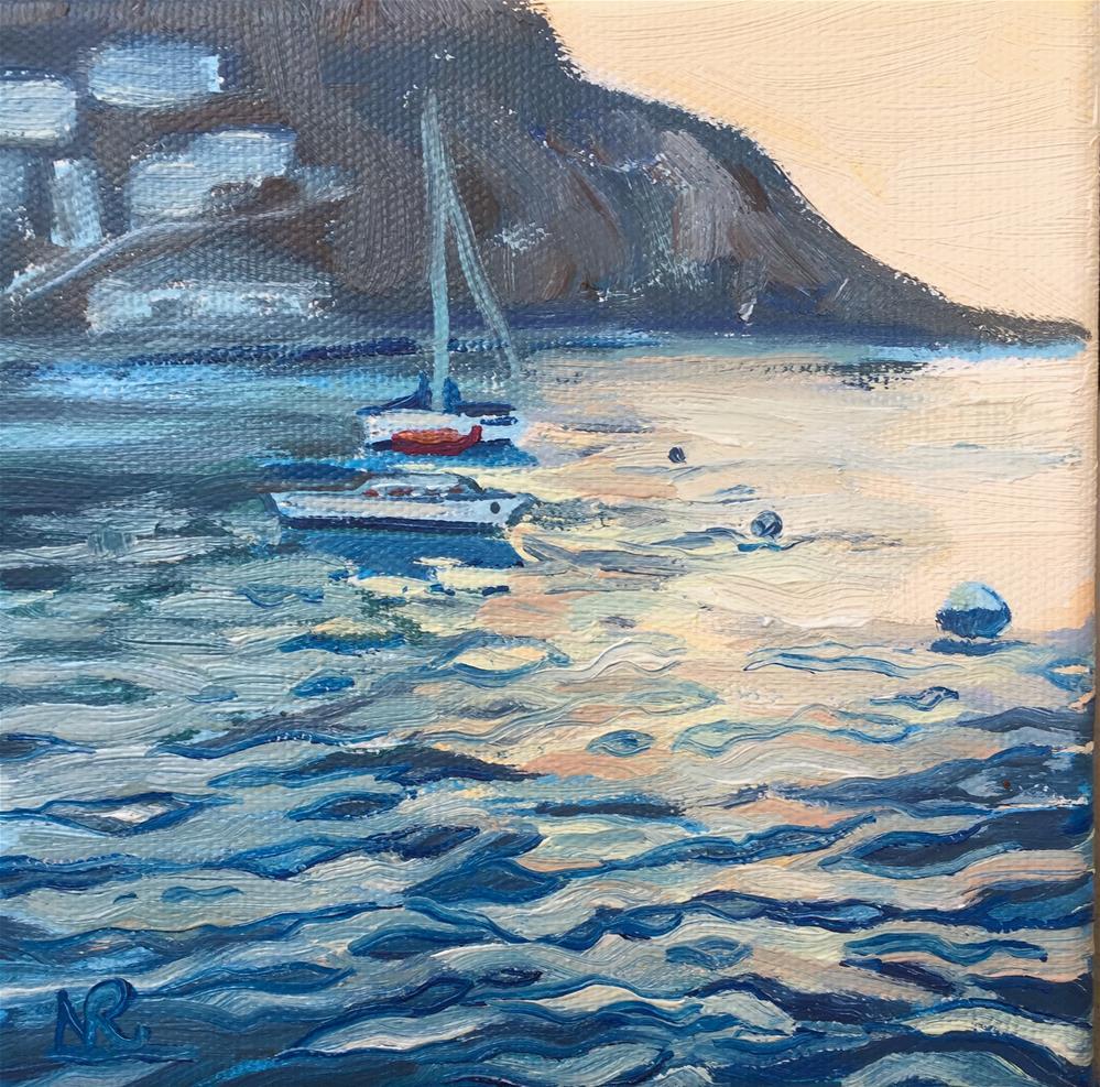 """Catalina Island Harbor Sunset"" original fine art by Natasha Ramras"