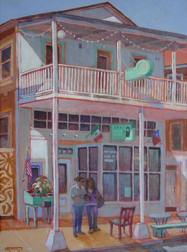 """""""Moon Cafe, Locke"""" original fine art by Nancy Roberts"""