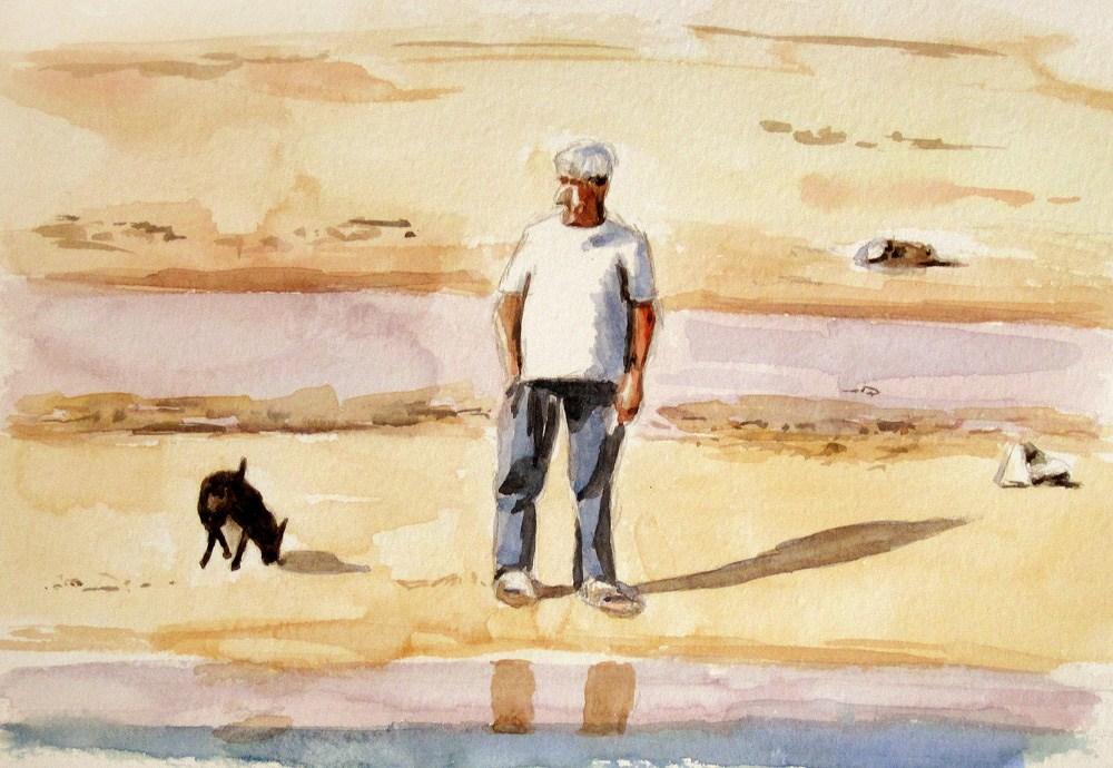 """""""Dog and Master 1"""" original fine art by Ulrike Miesen-Schuermann"""