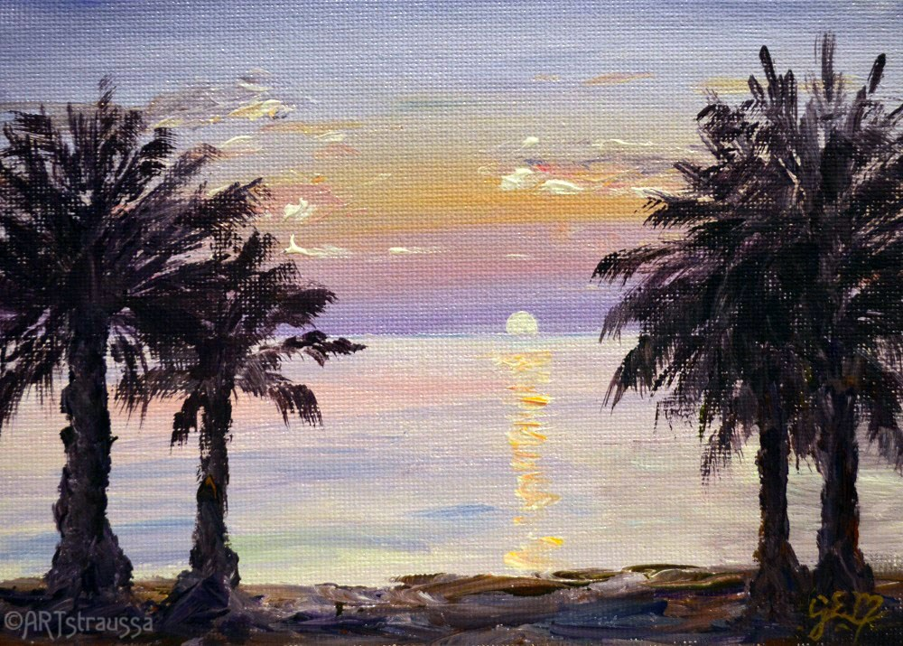 """SALE!!!Cyprus Sunset"" original fine art by Gloria Ester"