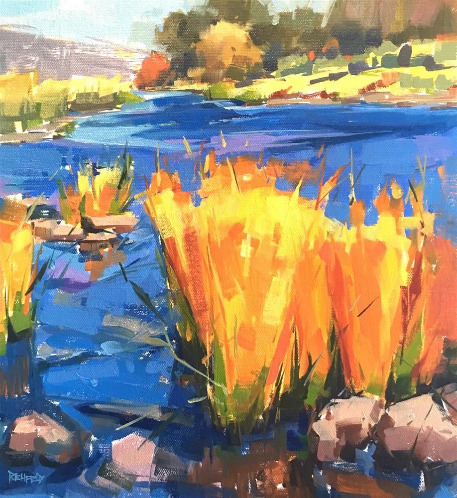 """""""Deschutes River 12x12"""" original fine art by Cathleen Rehfeld"""