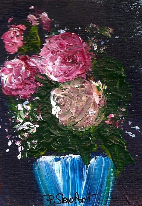 """ACEO Roses Blue Vase Painterly Impasto Thick Paint Original SFA Penny StewArt"" original fine art by Penny Lee StewArt"
