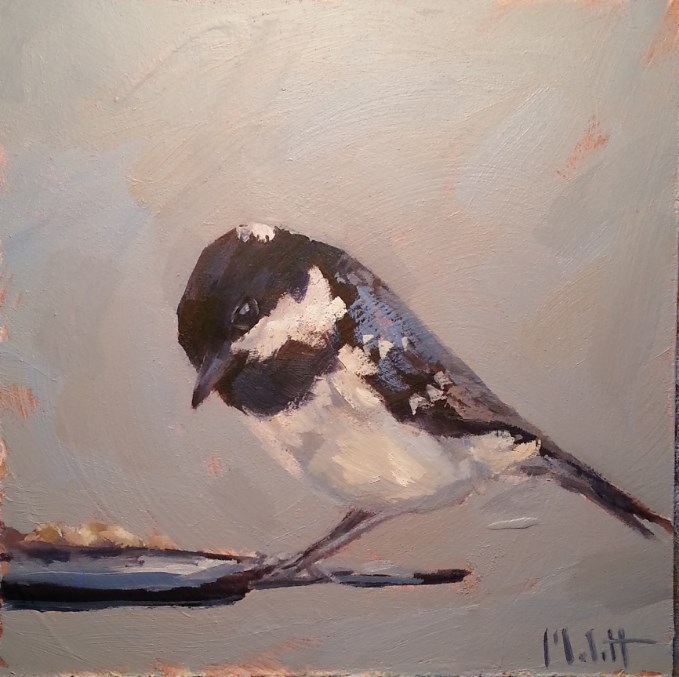 """Early Bird Chickadee Daily Oil Painting"" original fine art by Heidi Malott"