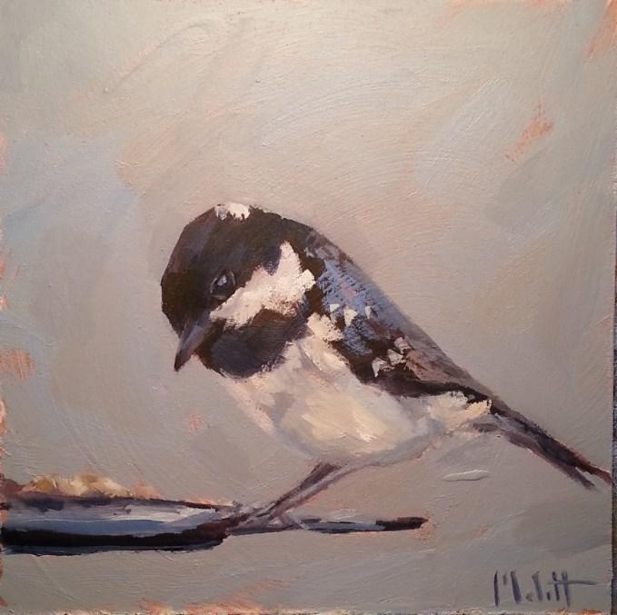 """Early Bird Chickadee Daily Oil Painting"" original fine art by Heidi Malott"