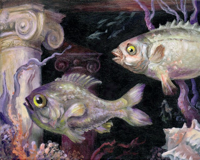 """Fish Temple Redux"" original fine art by Theresa Taylor Bayer"
