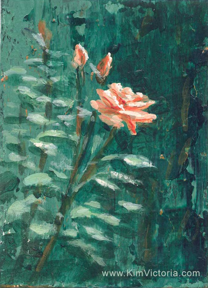 """""""Brandy Rose miniature"""" original fine art by Kim Victoria"""
