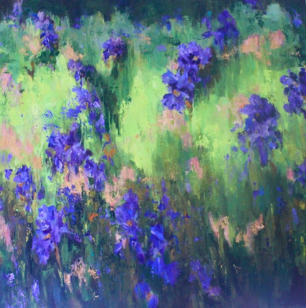 """""""Original wild iris flower floral garden landscape painting"""" original fine art by Alice Harpel"""