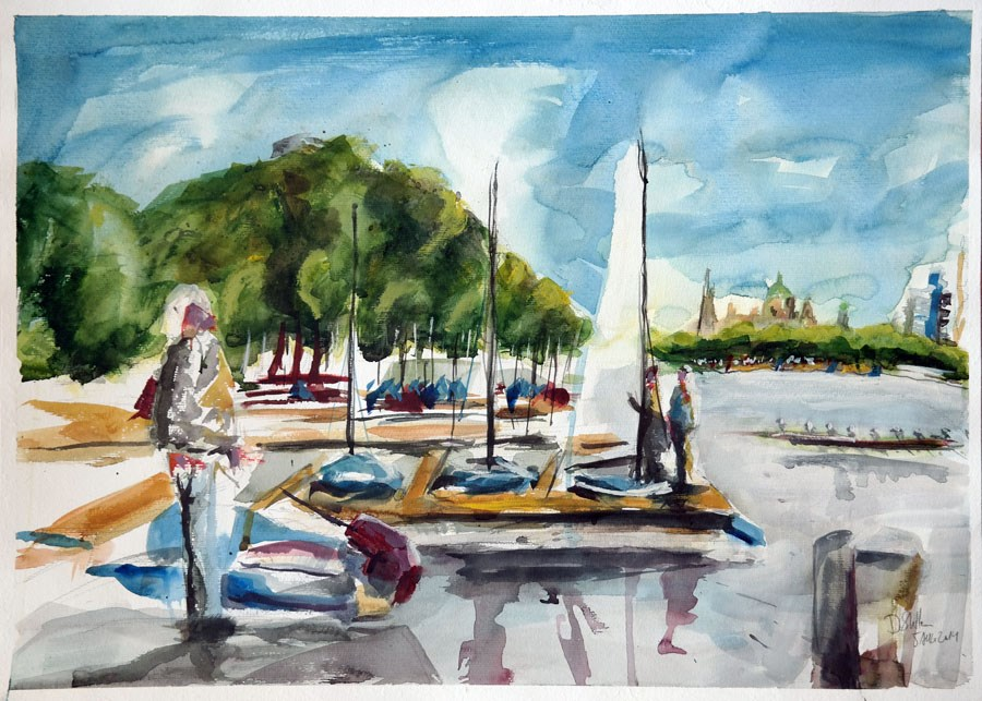 """1087 A Day on the Maschsee"" original fine art by Dietmar Stiller"