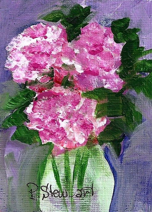 """Carnations in a Vase, ACEO, Original, ala prima style, signed by artist"" original fine art by Penny Lee StewArt"