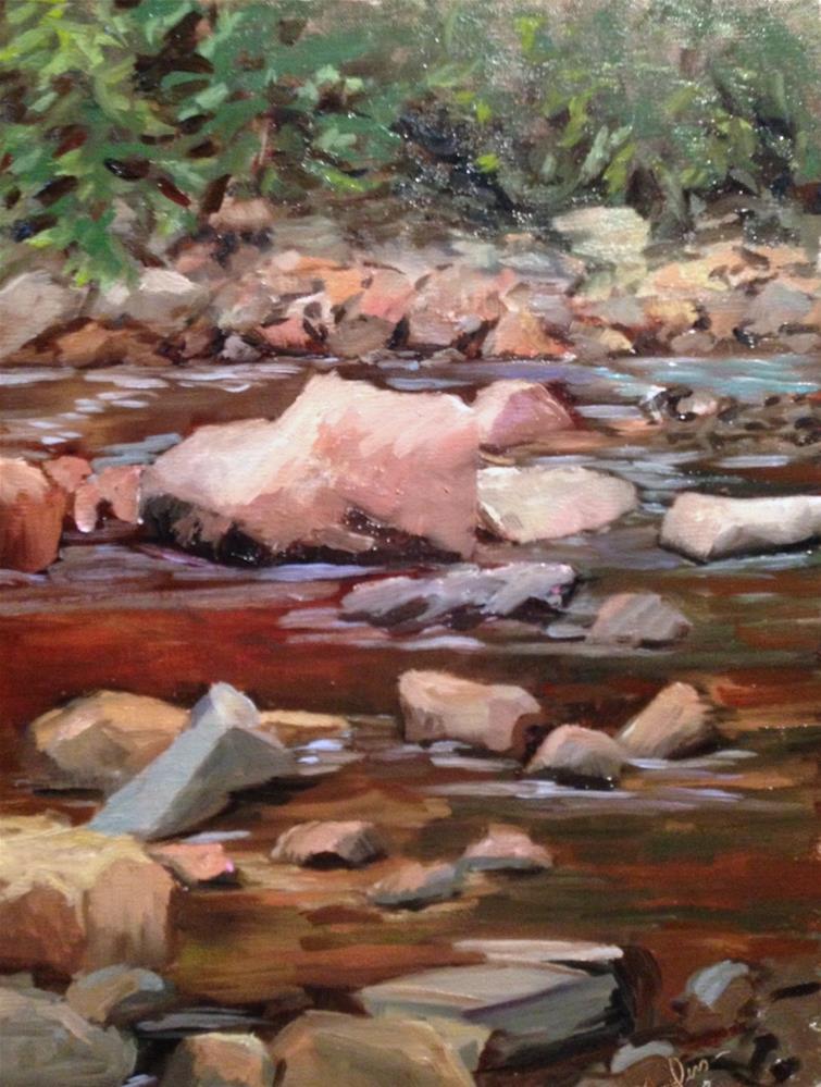 """River Rocks"" original fine art by Judith Anderson"