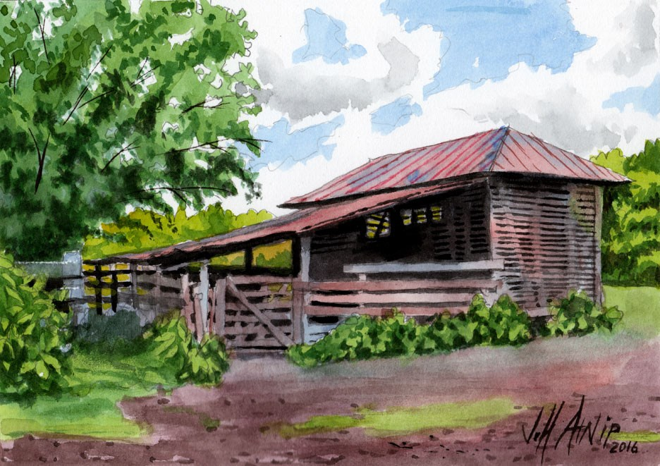 """Corn Crib"" original fine art by Jeff Atnip"