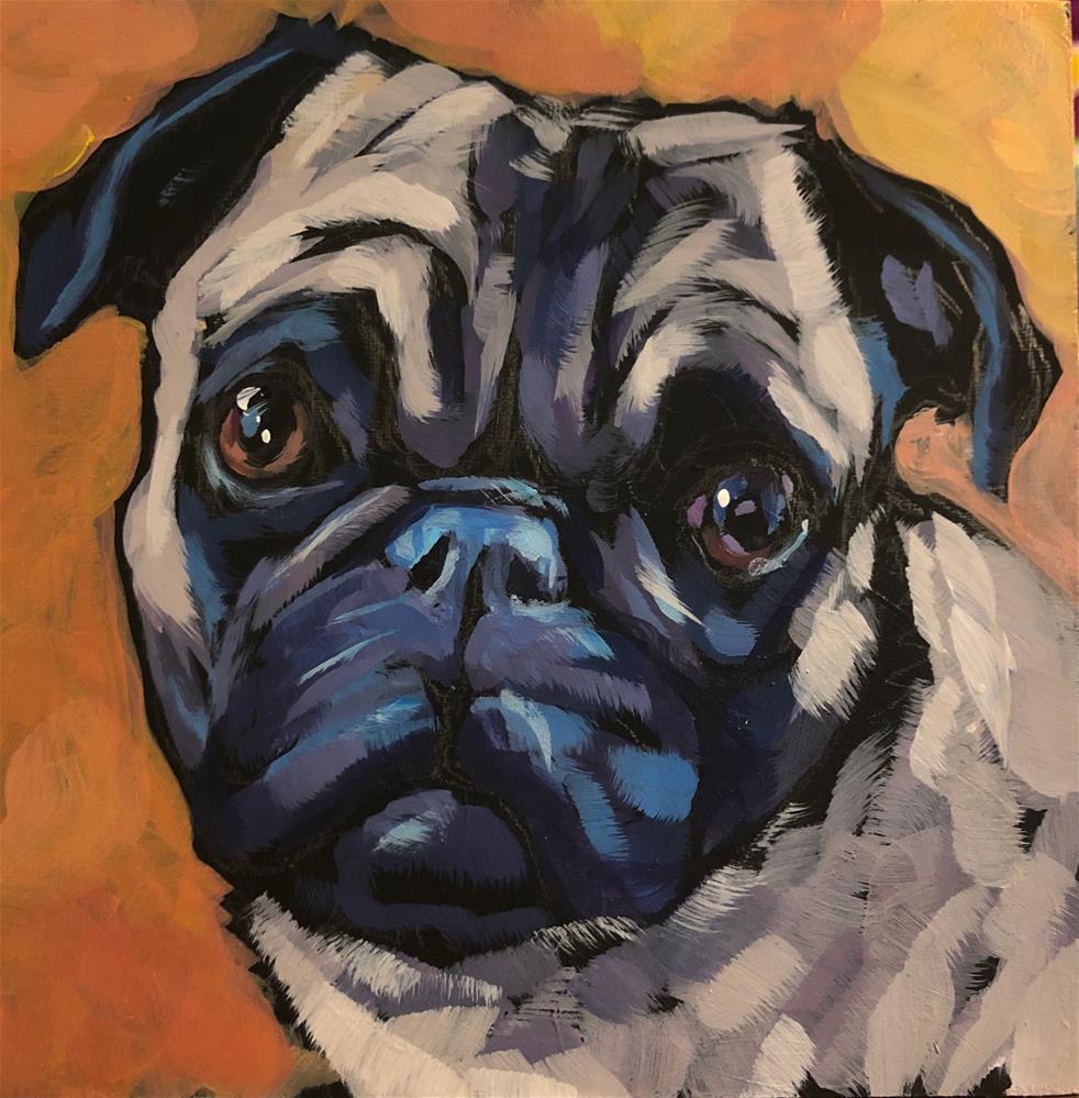 """Pug Love"" original fine art by Kat Corrigan"