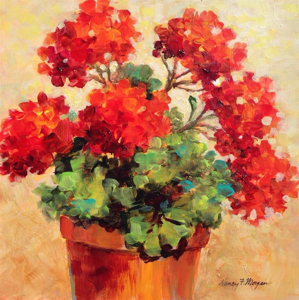 """Sunny Geraniums"" original fine art by Nancy F. Morgan"