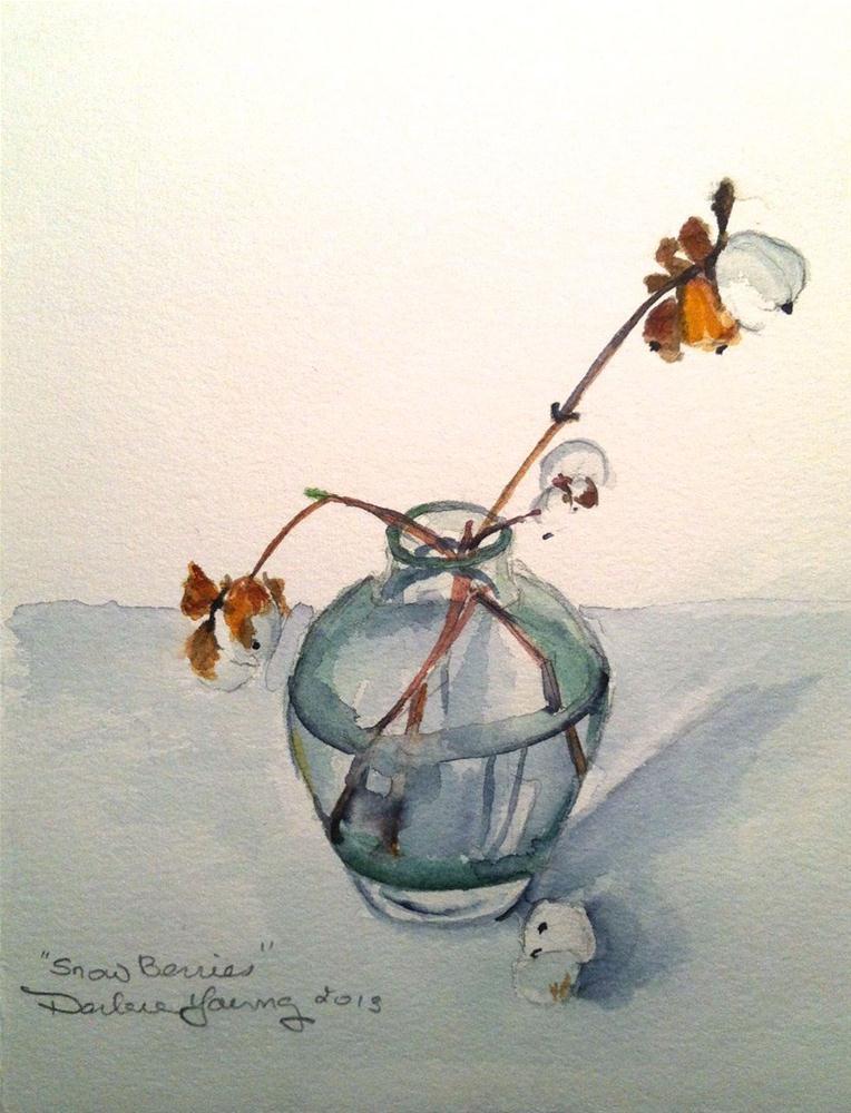"""606 Snowberries, Watercolour 8x8"" original fine art by Darlene Young"