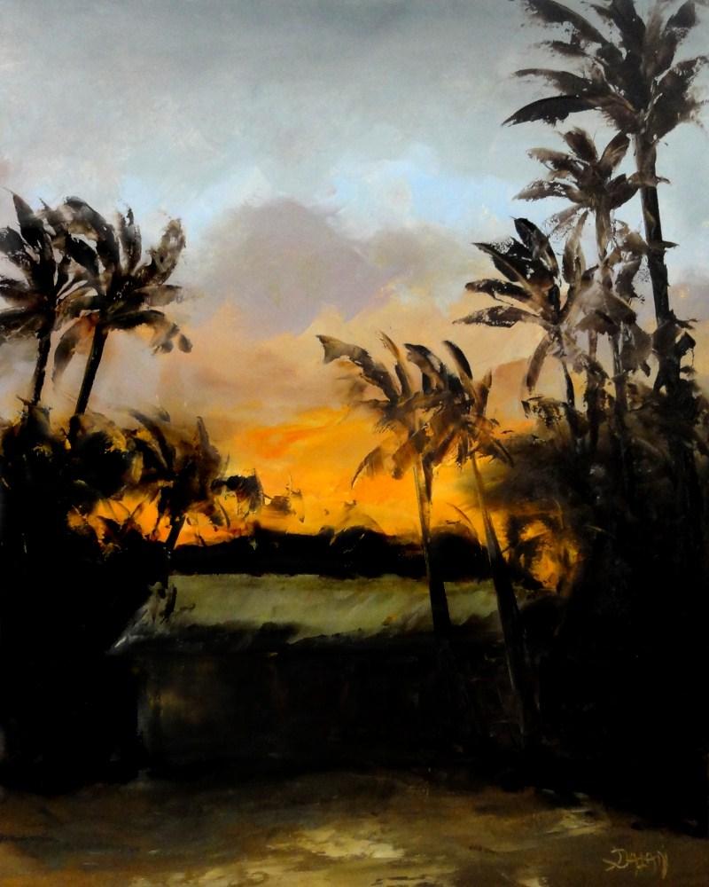 """""""Beach House Sunset Kailua Hawaii"""" original fine art by Dalan Wells"""