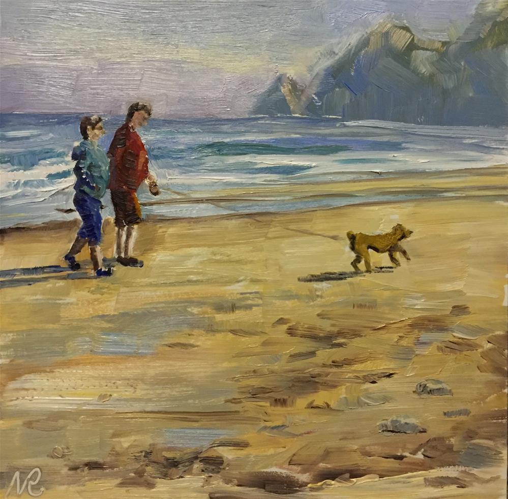 """Beach walkers 2"" original fine art by Natasha Ramras"