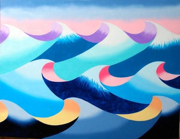 """Mark Webster - Abstract Geometric Ocean Seascape Oil Painting 2012-04-25"" original fine art by Mark Webster"