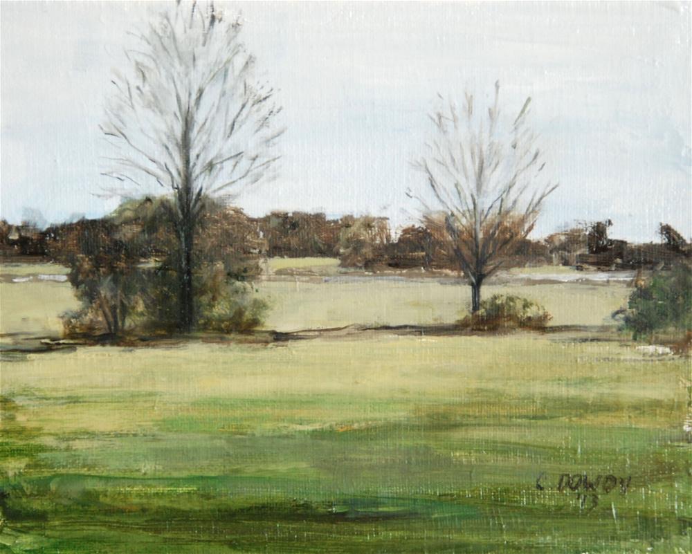 """Oil Sketch, Field in Winter"" original fine art by Christina Dowdy"