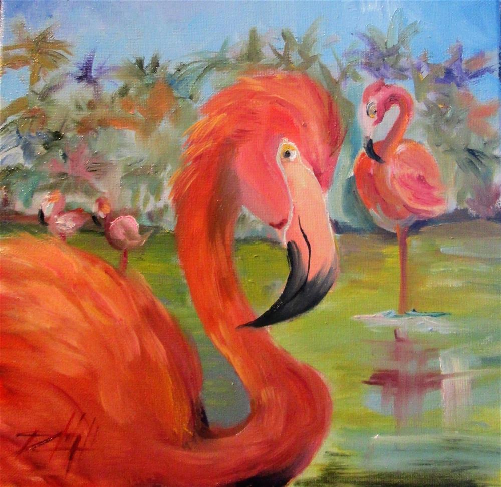 """Flamingos"" original fine art by Delilah Smith"