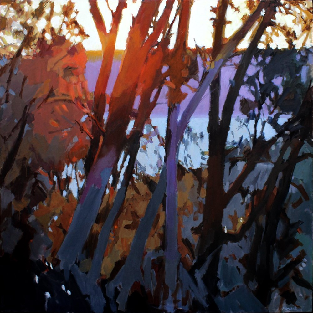 """""""Red and Gray Winter Sunset Madronas"""" original fine art by Gretchen Hancock"""