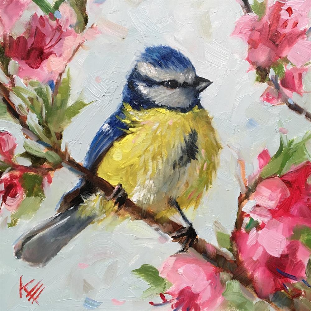 """""""Blue Tit & Blossoms """" original fine art by Krista Eaton"""