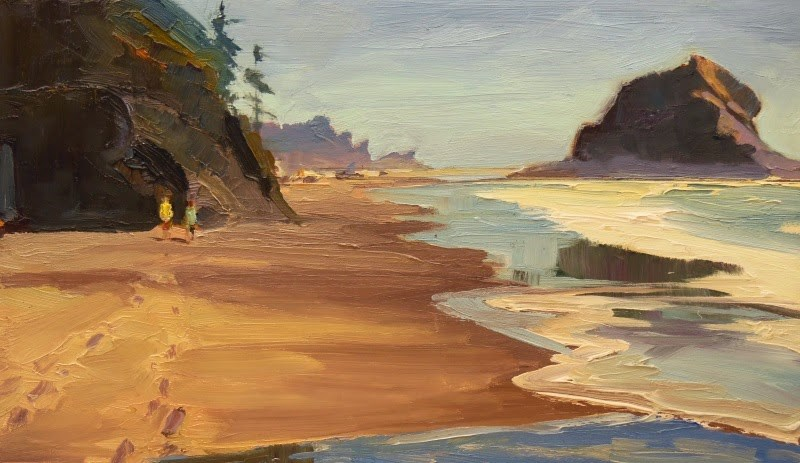 """Second Beach Walkers  LaPush, plein air, marinescape, oil painting by Robin Weiss"" original fine art by Robin Weiss"