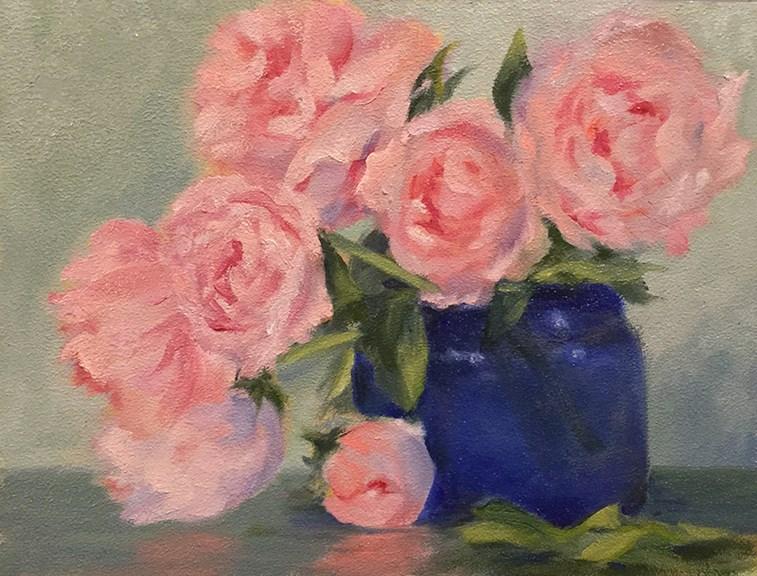 """Pink Peonies"" original fine art by Dee Lessard"