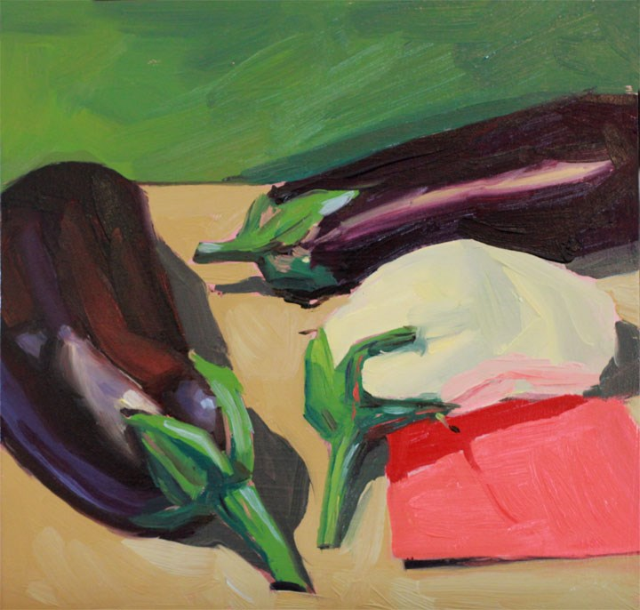 """""""The Illusive White Eggplant"""" original fine art by Nealy May Riley"""