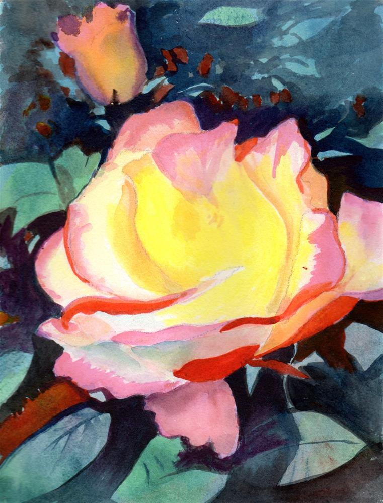 """""""Pink and Yellow Rose and Bud"""" original fine art by Bunny Griffeth"""