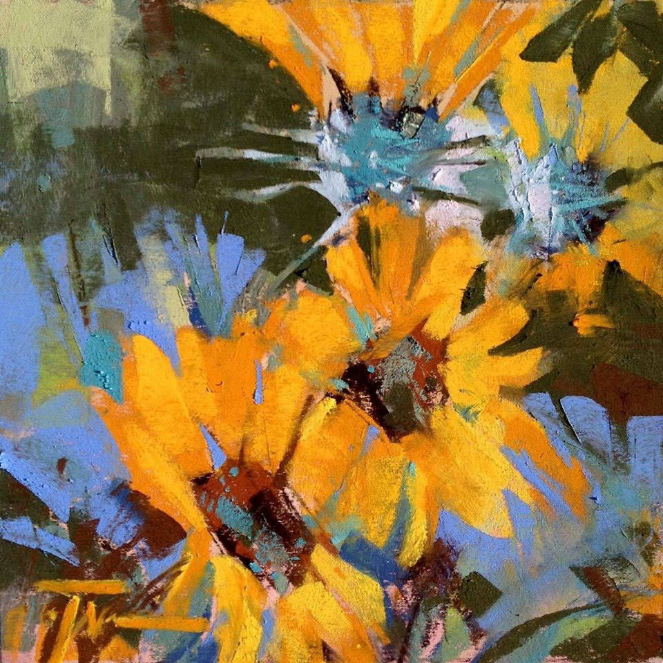 """Balsamroot Blues"" original fine art by Jennifer Evenhus"