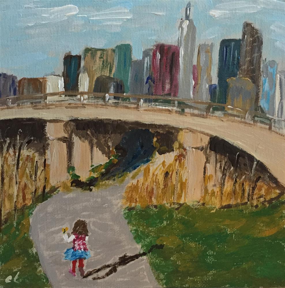 """Running with dandelions"" original fine art by Cheree Apalona Lueck"