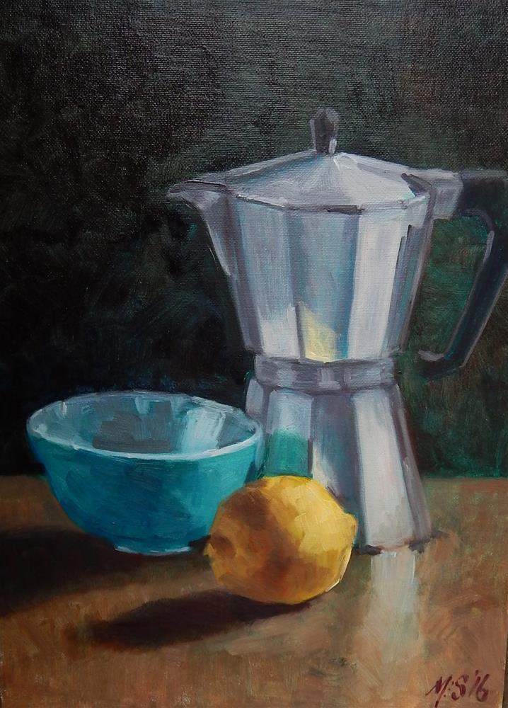 """Still Life With Espresso Pot and Lemon"" original fine art by Megan Schembre"