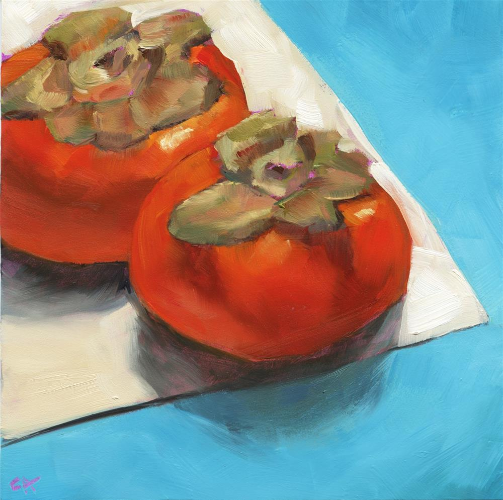 """""""Edgy persimmons"""" original fine art by Cynthia Armstrong"""
