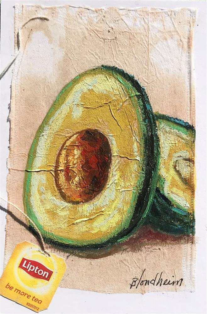 """Tea Bag Painting Avocado"" original fine art by Linda Blondheim"