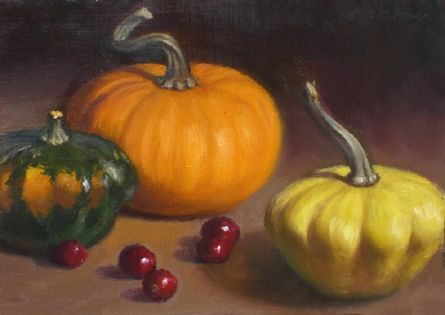 """""""Three Little Gourds"""" original fine art by Debra Becks Cooper"""