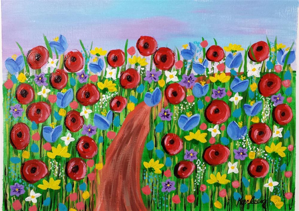 """A Path Through the Flower Patch"" original fine art by Karleen Kareem"