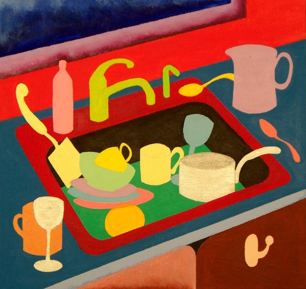 """""""Kitchen Sink with Dishes"""" original fine art by Lisa Fulton"""