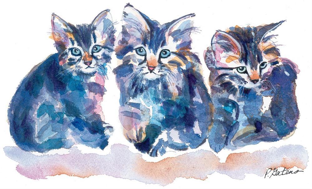 """""""Crazy Quilt Kittens"""" original fine art by Pamela Gatens"""