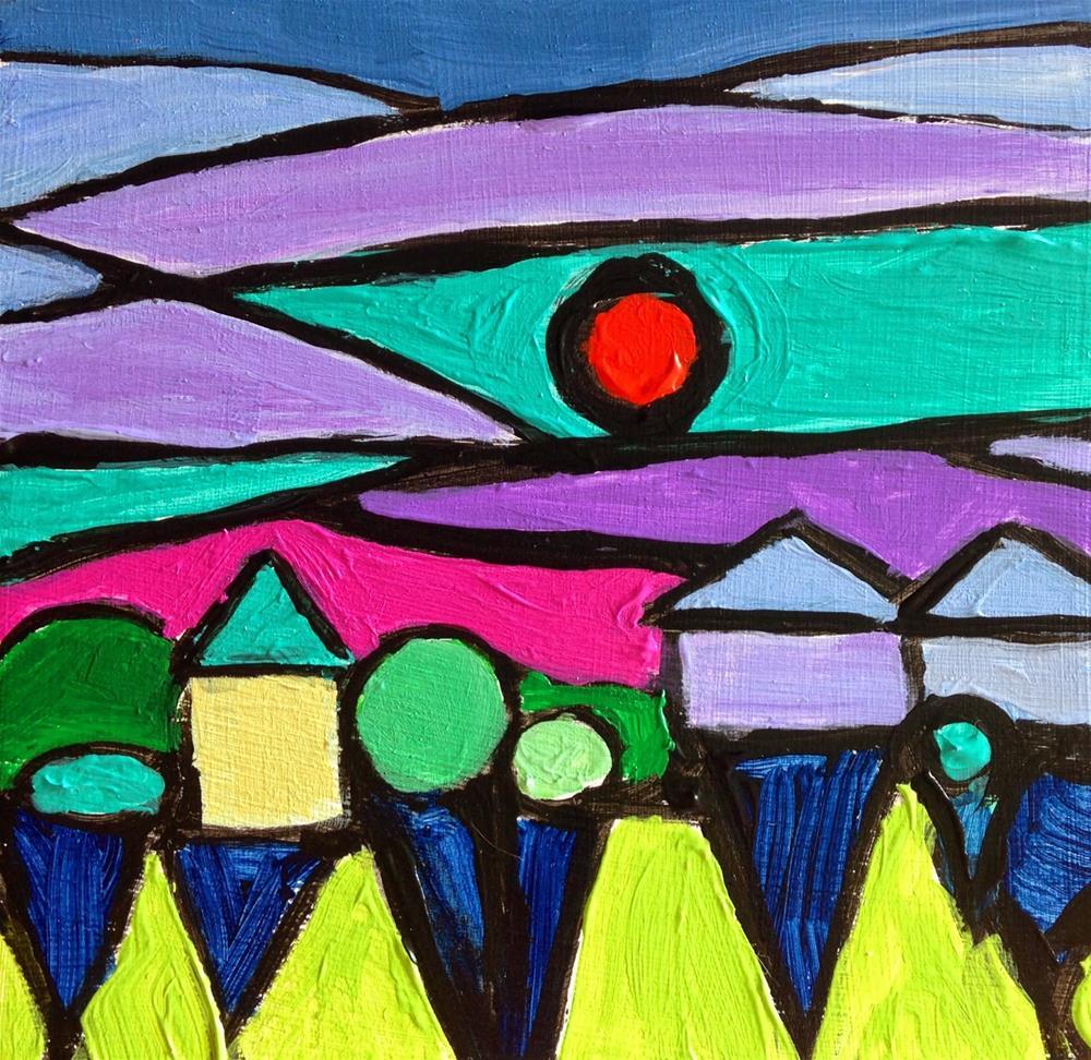 """True Neighborhood, 4x4 inch acrylic painting by Kelley MacDonald"" original fine art by Kelley MacDonald"