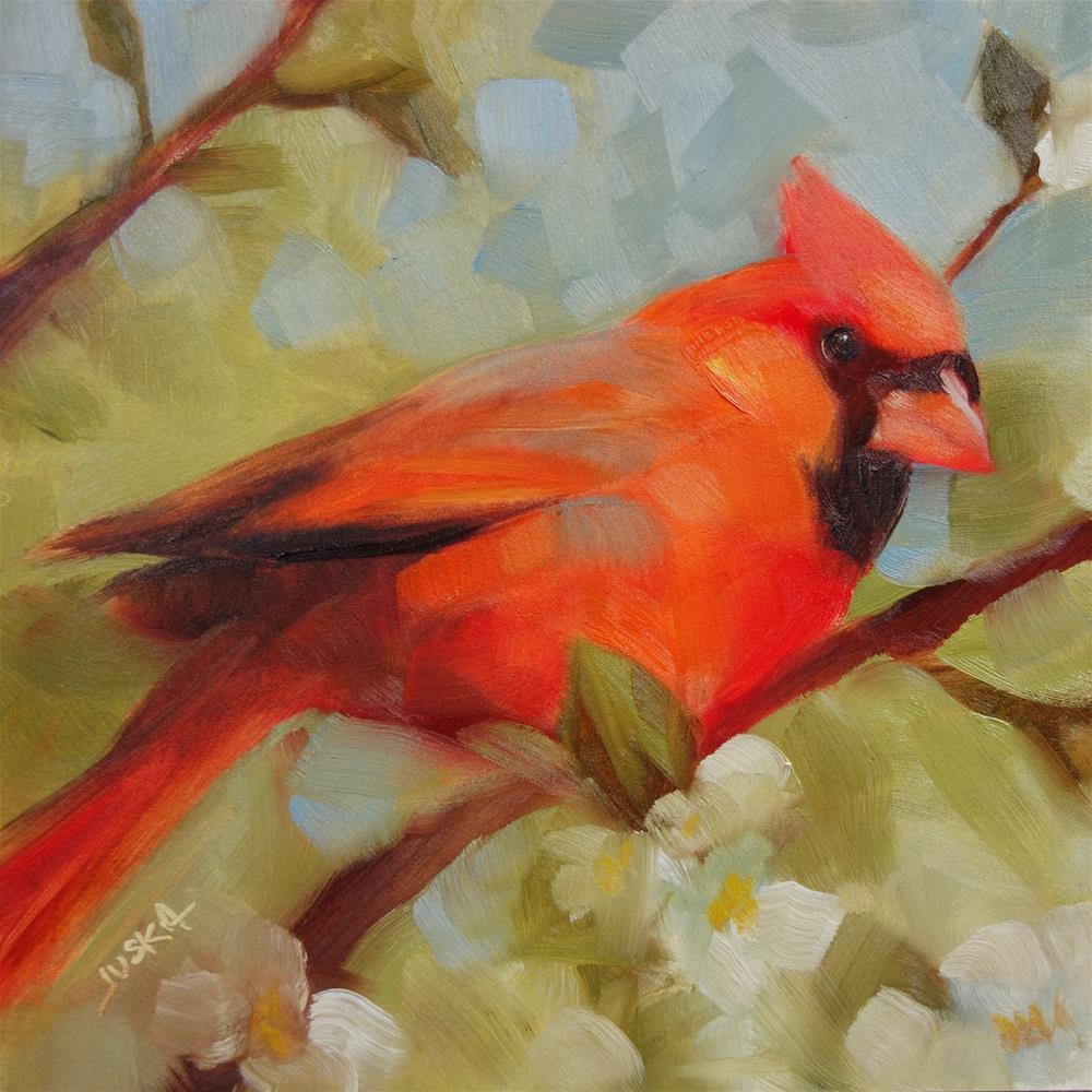 """""""Cardinal and Blossoms"""" original fine art by Elaine Juska Joseph"""
