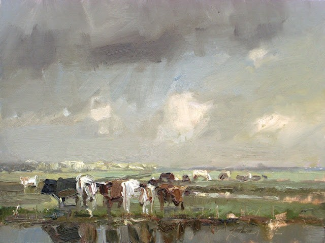 """Landscape spring #20 First cows of spring and rain"" original fine art by Roos Schuring"