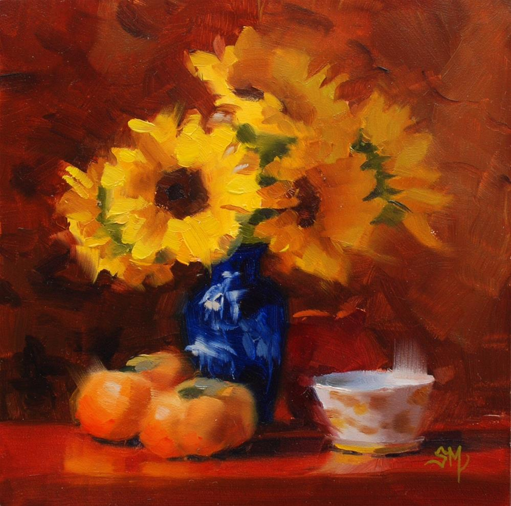 """No. 671 Persimmons, Sunflowers and Sugar Bowl"" original fine art by Susan McManamen"
